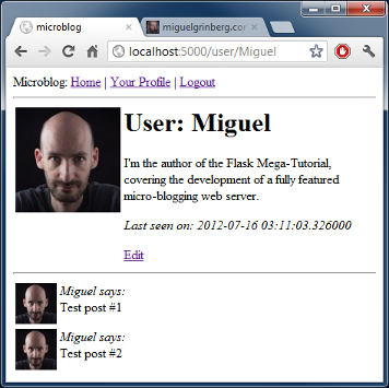 microblog profile page