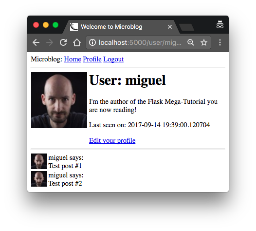 User Profile Page with Edit Link