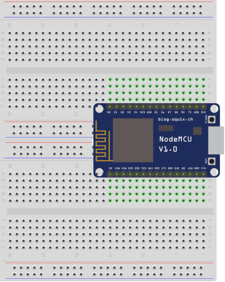ESP8266 on Two Breadboards