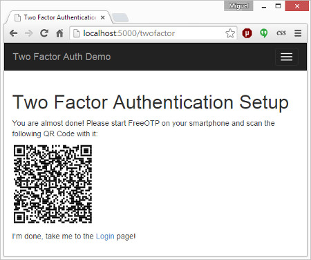 Two Factor Authentication with Flask - miguelgrinberg com